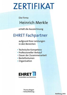 EHRET Fachpartner Zertifikat Heinrich Merkle